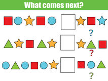 What comes next educational children game. Kids activity sheet, continue the row task. What comes next educational children game. Kids activity sheet, training stock image
