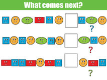 What comes next educational children game. Kids activity sheet, continue the row task Royalty Free Stock Photography