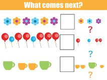 What comes next educational children game. Kids activity sheet, continue the row task Stock Photography