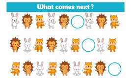 What comes next educational children game. Kids activity sheet, training logic, continue the row task with colorful simple shapes Royalty Free Stock Photography