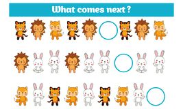 What comes next educational children game. Kids activity sheet, training logic, continue the row task with colorful simple shapes Royalty Free Stock Image