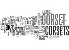 What Is A Corset Word Cloud. WHAT IS A CORSET TEXT WORD CLOUD CONCEPT Stock Image