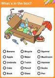 Whatin de garderobe? Trek een cirkel rond elk ding Whatin de doos? Vind de voorwerpen - Aantekenvel voor onderwijs stock illustratie