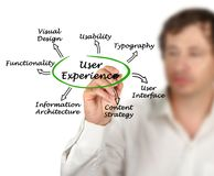 What determine User Experience. Man presenting what determine User Experience Stock Photography