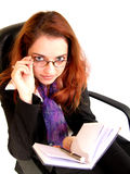 What did you say? 2. Business woman looking pleasantly surprised Royalty Free Stock Photos