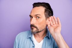 Free What Did You Say. Serious Man Hold Hand Near Ears Listen Private Communication Want Know Interesting Information Wear Royalty Free Stock Photography - 170579137