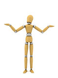 What do I know. Confused wooden mannequin over white background no knowing anything Royalty Free Stock Images