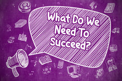 What Do We Need To Succeed - Business Concept. Speech Bubble with Wording What Do We Need To Succeed Cartoon. Illustration on Purple Chalkboard. Advertising royalty free illustration