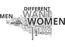 What Do Women Want From Men Word Cloud. WHAT DO WOMEN WANT FROM MEN TEXT WORD CLOUD CONCEPT Stock Images