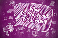 What Do You Need To Succeed - Business Concept. Business Concept. Loudspeaker with Inscription What Do You Need To Succeed. Cartoon Illustration on Purple royalty free illustration