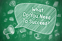What Do You Need To Succeed - Business Concept. Speech Bubble with Inscription What Do You Need To Succeed Doodle. Illustration on Green Chalkboard. Advertising vector illustration