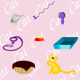 What do you need for your cat. If you have a kitten you'll need those things vector illustration
