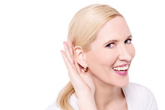 What do you said, i can't hear you ? Stock Image