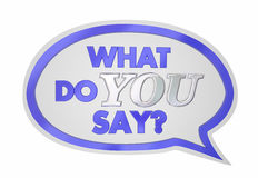 What Do You Say Speech Bubble Opinion Vote. 3d Illustration Stock Photo