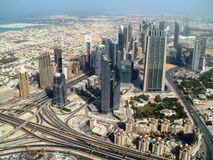 What do you see from the tallest building in the world?. A view from world's tallest building - Burj Khalifa Stock Image