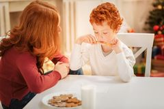Mother and son writing letter to santa claus Royalty Free Stock Image