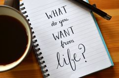 `What do you want from life?` hand-lettered in notebook. On wooden desk with pen and cup of coffee stock photo