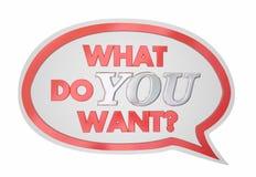 What Do You Want Speech Bubble Request Desire. 3d Illustration Stock Images