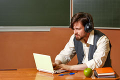 What does the teacher between classes? Stock Photos