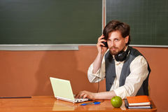 What does the teacher between classes? Royalty Free Stock Photos