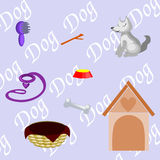 What a dog needs. If you have a dog you'll need those things vector illustration