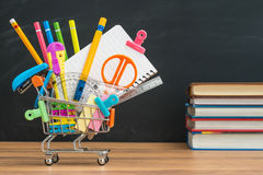 What education supplies you need to buy for back to school Royalty Free Stock Image