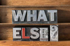 What else tray. What else question made from metallic letterpress type on wooden tray Stock Photos