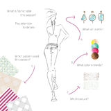 What-fashionable. Vector fashion model. Vector sketch silhouette. Dress pencil sketch. Vector lady. Vector fashion gir. Vector design elements. Samples  of Stock Illustration