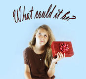 What is in this gift? stock photography