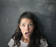 What?!. Girl looks amazed and surprised Stock Photos