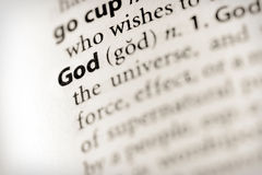 What is God. Selective focus on the word God Royalty Free Stock Image