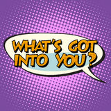 What is got into you retro comic bubble text Stock Photos