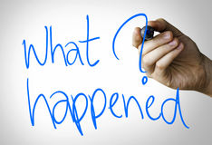 What happened hand writing on blue marker on transparent wipe board.  Royalty Free Stock Image
