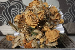What happened to the bride's bouquet?. Wedding accessories bride Royalty Free Stock Photography