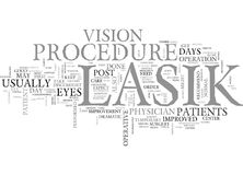 What Happens After The Lasik Procedure Word Cloud. WHAT HAPPENS AFTER THE LASIK PROCEDURE TEXT WORD CLOUD CONCEPT Stock Photo