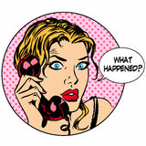 What happens woman phone question online support Royalty Free Stock Photo