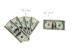 What we have to pay and what will spend on food Royalty Free Stock Photo