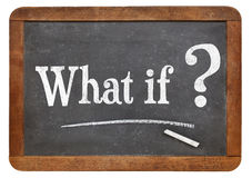 What if question on blackboard. What if question  on a vintage blackboard isolated on white Stock Photography