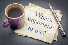 What is important to me? A question on napkin. Royalty Free Stock Images