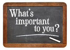 What is important to you question on blackboard Royalty Free Stock Photography