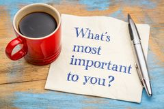 What is important to you?. Handwriting on a napkin with a cup of coffee Royalty Free Stock Image