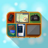 What is inside tourist suitcase Royalty Free Stock Images