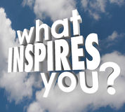 What Inspires You Question Spark Imagination Creativity. What Inspires You words in 3d letters on a background of clouds to ask what motivates you to think Royalty Free Stock Photos