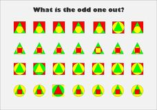 Free What Is The Odd One Out, Different Colorful Geometric Shapes For Children, Fun Education Game For Kids, Preschool Worksheet Royalty Free Stock Photo - 201758905