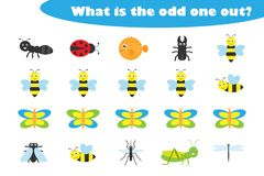 Free What Is The Odd One Out For Children, Insects Theme In Cartoon Style, Fun Education Game For Kids, Preschool Worksheet Activity, Stock Images - 149498274