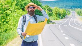 What Is There. Tourist With Map See Familiar Landmark. Seems Finally Got Destination Point. Tourist Try To Recognize Royalty Free Stock Images