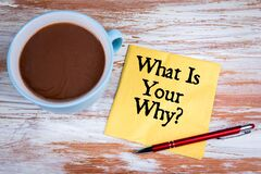 Free What Is Your Why. Yellow Napkin And Coffee Mug On A Wooden Table Stock Photography - 217050182