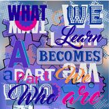 What we learn becomes what we are. Inspirational saying. Vector positive quote on colorful background vector illustration