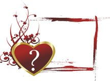 What is the love. Red heart with a question mark against a vegetative ornament and a framework for the text in the form of brush dabs Royalty Free Stock Photo