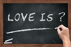What is Love discussion topic chalk on blackboard. In school education concept Royalty Free Stock Images